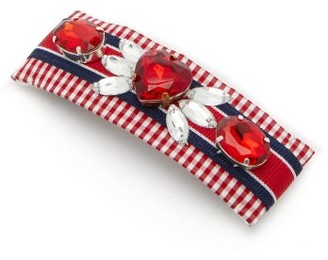 Benoit Missolin Lucia Crystal-embellished Gingham Hair Clip - Red Multi