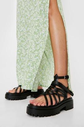 Nasty Gal Womens Faux Leather Strappy Platform Sandals - Black - 5, Black