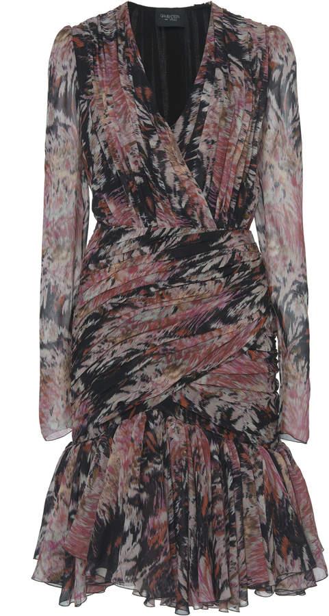 Giambattista Valli Ruffled Silk Chiffon Floral Print Dress