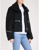 Sandro Navy Blue Classic Zip-detail Shearling Jacket