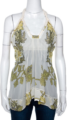 Roberto Cavalli Cream Printed Silk Sheer Halter Top S