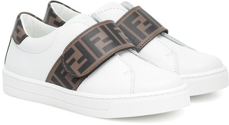 Fendi Kids Logo leather sneakers