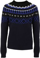 Moncler Blue Fair Isle Knit Sweater