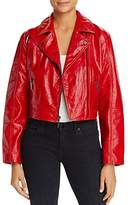 Kenneth Cole Cropped Patent Leather Moto Jacket