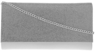 Collection Athena Glitter Flap Over Silver Clutch Bag