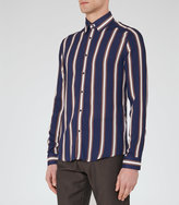 Reiss Reiss Coltby - Graphic Stripe Shirt In Blue