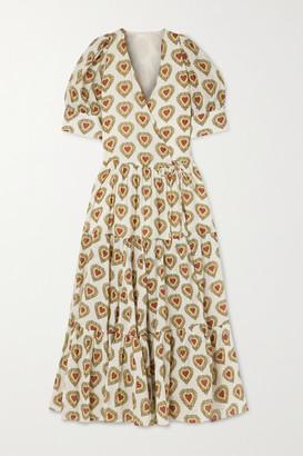 Rhode Resort Gina Tiered Printed Cotton Wrap Midi Dress - Ivory