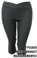CurvyLuv.com Women's Plus Size V-Front Elastic Waist Capri Length Pants Bottoms Casual