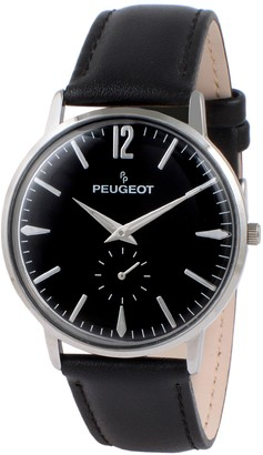 Peugeot Men's Vintage-Inspired Retro Black Strap Watch