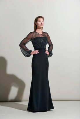 Rene Ruiz Collection Long Sleeve Keyhole Back Evening Gown
