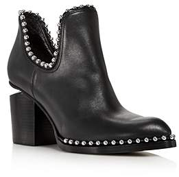 Alexander Wang Women's Gabi Pointed Toe Studded Leather High-Heel Ankle Booties