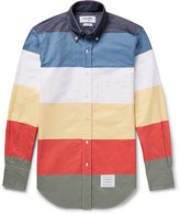 Thom Browne - Slim-fit Colour-block Button-down Collar Cotton Oxford Shirt