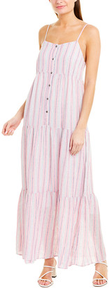 Splendid Gathered Tiered Linen-Blend Maxi Dress