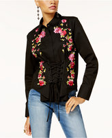 INC International Concepts Petite Embroidered Corset Shirt, Created for Macy's