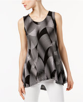 Alfani Petite Printed Pleated High-Low Top, Only at Macy's