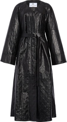 Marine Serre Moon Print Upcycled Leather Macintosh Coat