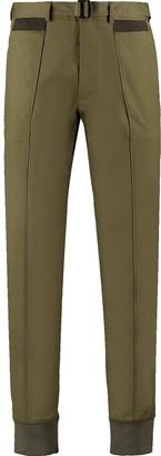 Ribbed Hem Stretch-Cotton Twill Pants - Khaki