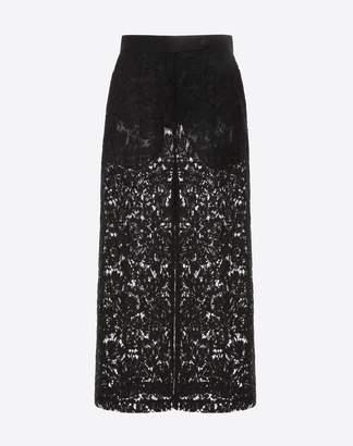 Valentino Heavy Lace Culottes Women Black Polyester, Viscose 42