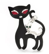 Avalaya 'Mother & Baby Cat Family' Brooch In Tone Metal - 4.5cm Length