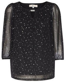 Dorothy Perkins Womens **Billie & Blossom Petite Black Spot Print Trim Blouse, Black