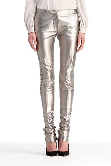 Diane von Furstenberg Everly Metallic Leather Pant