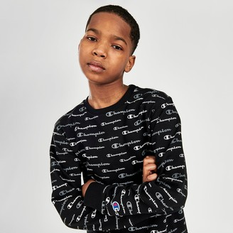 Champion Boys' AOP Multi Script Crewneck Sweatshirt