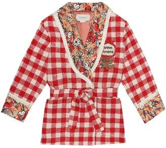 Gucci Kids Checked wool-blend tweed jacket