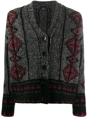 Etro Geometric Wool Knit Cardigan