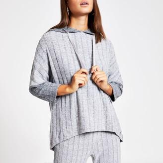 River Island Womens Grey ribbed oversized loungewear hoodie
