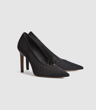 Reiss Zena - Mesh Court Shoes in Black