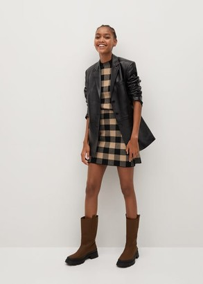 MANGO Check knit miniskirt