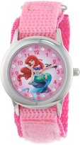 Disney Kids' W000959 Ariel Glitz Stainless Steel Pink Nylon Strap Watch
