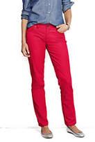 Lands' End Women's Petite Pre-hemmed Mid Rise Straight Leg Corduroy Pants-Berry Rouge