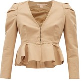 Brock Collection Paneriello Peplum Cotton-faille Jacket - Womens - Beige