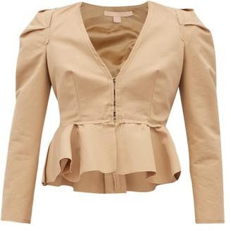 Brock Collection Paneriello Peplum Cotton-faille Jacket - Beige