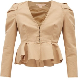 Brock Collection Paneriello Peplum Cotton-faille Jacket - Womens - Beige