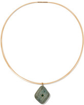 Cvc Stones Bolivar 18-karat Gold, Emerald And Stone Choker