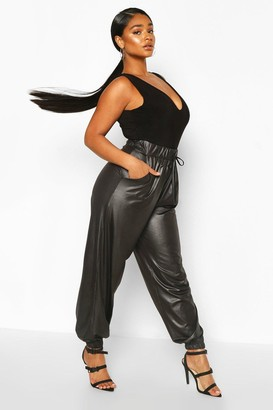 boohoo Plus Leather Look Joggers