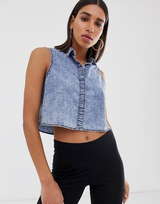 Noisy May cropped denim shirt-Blue
