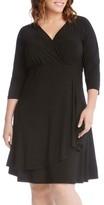 Karen Kane Plus Size Women's Jersey Cascade Faux Wrap Dress