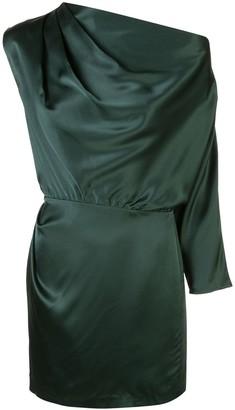 Mason by Michelle Mason One-Sleeve Draped Mini Dress