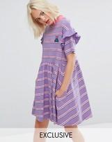 Lazy Oaf Short Sleeve Smock Dress In Stripe