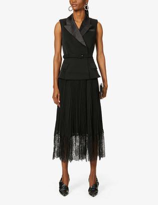 Self-Portrait Sleeveless pleated satin and chiffon midi dress