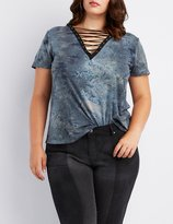 Charlotte Russe Plus Size Tie-Dye Lattice Boyfriend Tee