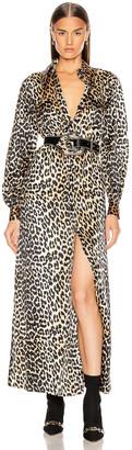 Ganni Silk Stretch Satin Dress in Leopard | FWRD