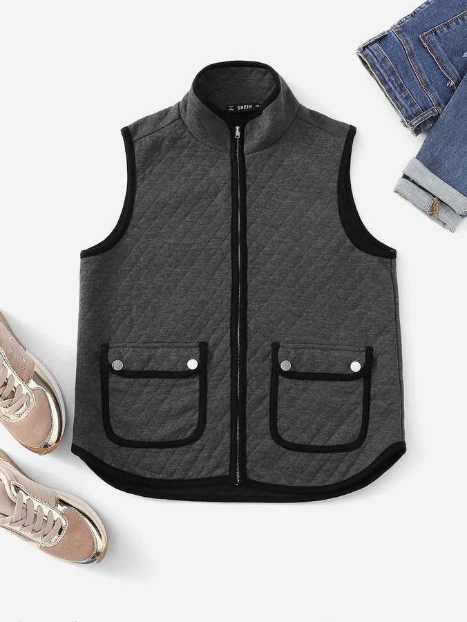 Contrast Trim Pocket Front Vest Jacket