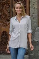 Artisan Crafted 100% Rayon Long-Sleeved Blouse in Grey, 'Tiara in Grey'