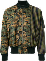 No.21 camouflage and check bomber jacket