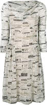 Moschino Newspaper mesh skater dress