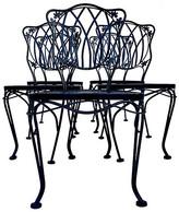 One Kings Lane Vintage Iron Chairs by Woodard - Set of 5 - Jacki Mallick Designs - frames, black; cushions, green